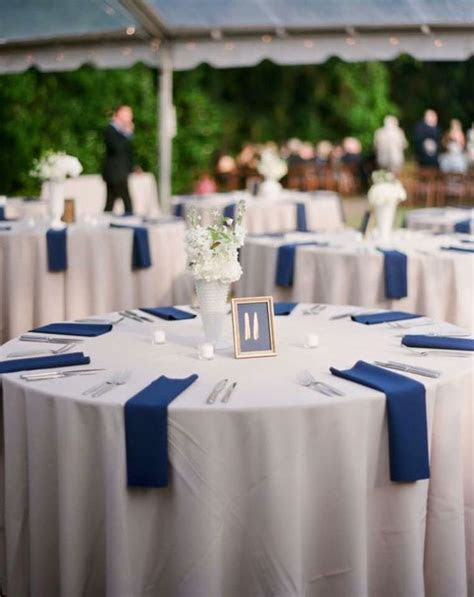 Navy Wedding Table Settings & 120 Round Polyester Al