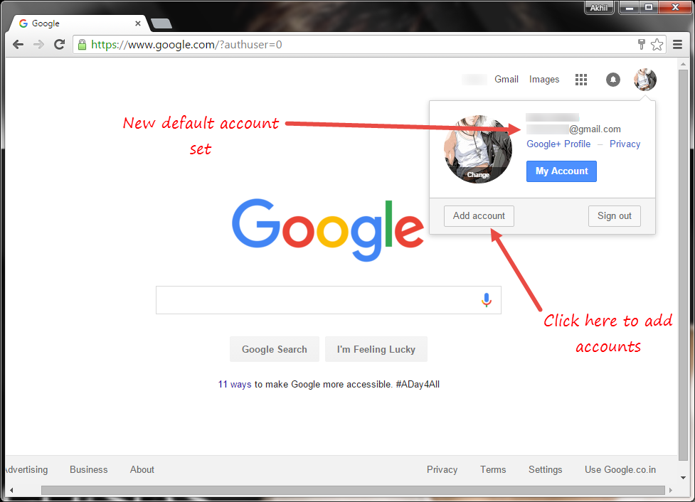 Change Default Google Account In Multiple Sign In