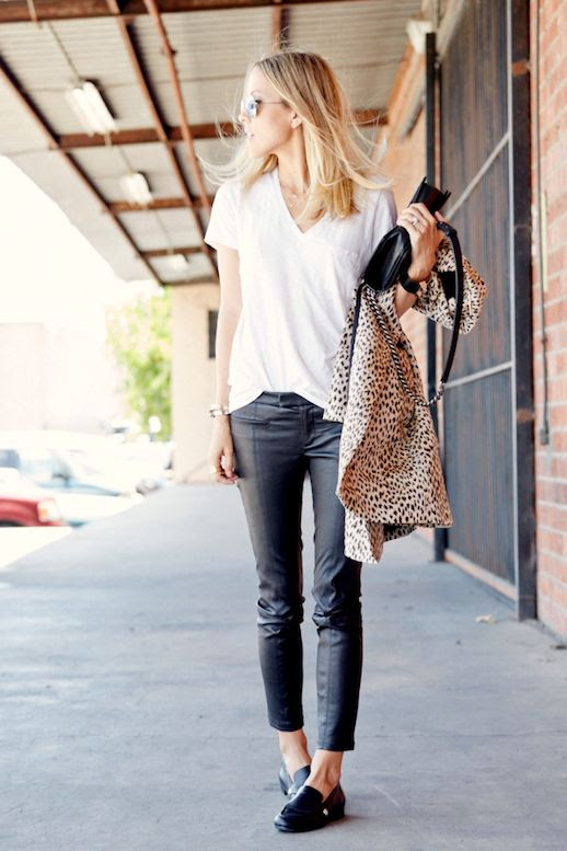 Le Fashion Blog Blogger Style White V Neck Pocket Tee Leopard Jacket Helmut Lang Cropped Leather Pants Black Hermes Loafers Via Damsel In Dior