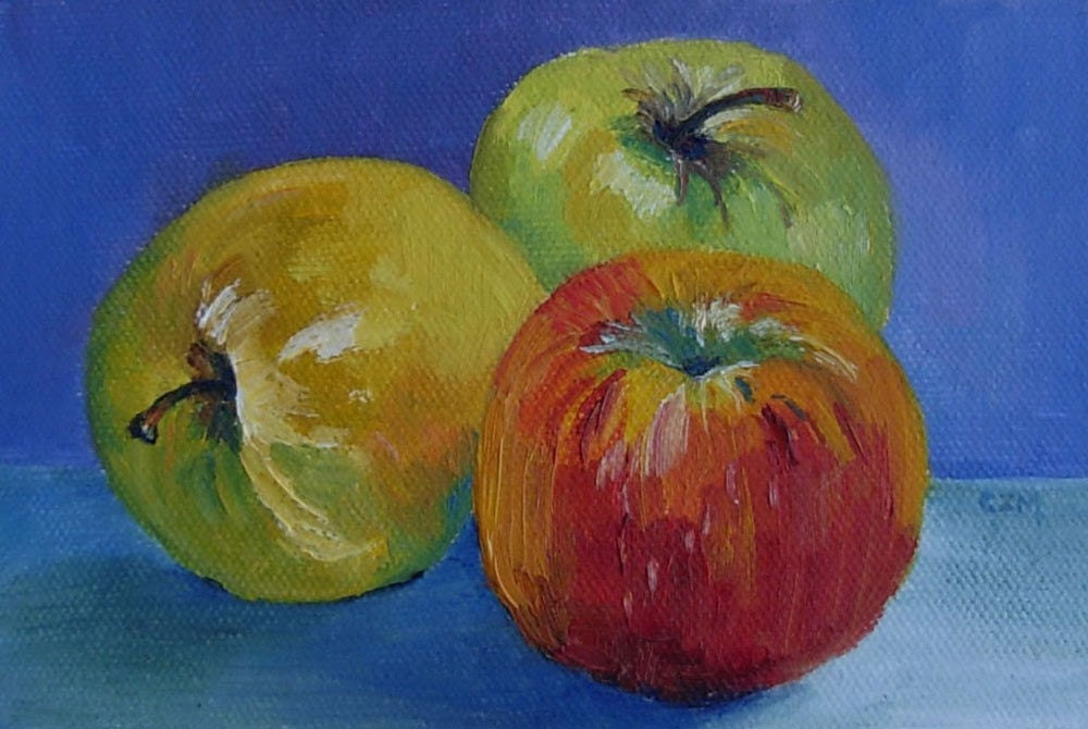 3 Apples - original 4 x 6 inch oil painting unframed