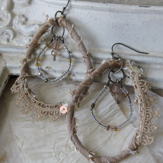 textile assemblage earrings
