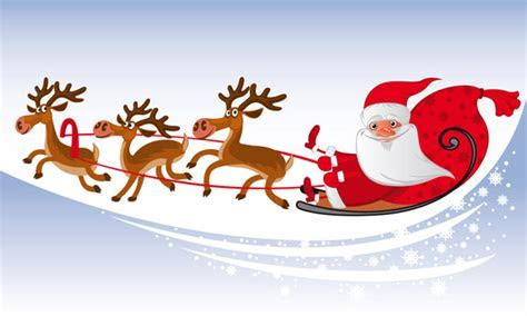 santa claus flying over the air (5609) Free EPS Download