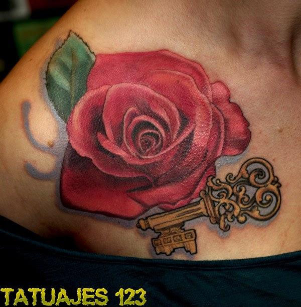 Rosa Roja Con Llave Tatuajes 123