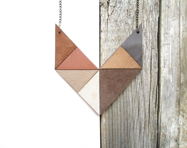 Geometric Leather Necklace statement leather necklace - NasuKka