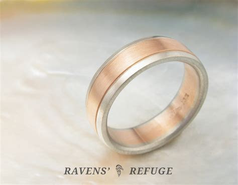 rose gold & white gold wedding band   men's two tone ring
