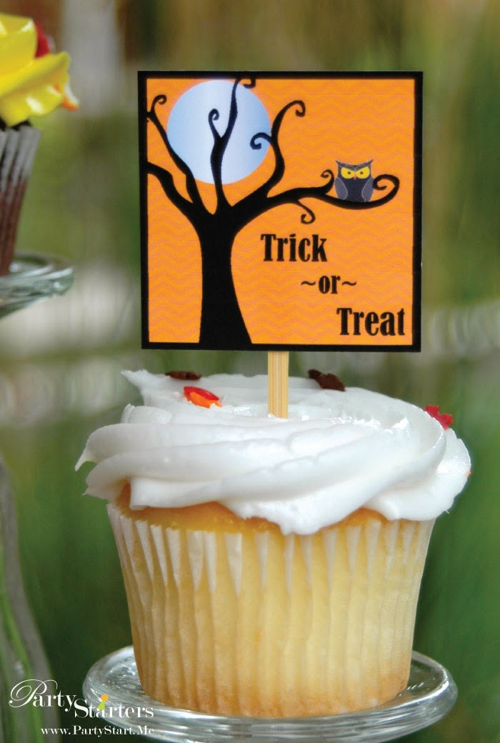Modern Owl Halloween Cupcake Pick Collection Set of 12