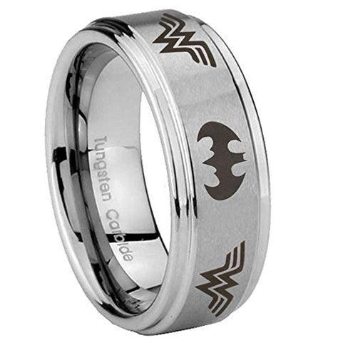 10MM Tungsten Carbide Batman Wonder Woman Silver Step