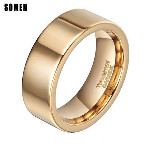Brand Luxury 8mm Flat Gold Ring Men Tungsten Carbide