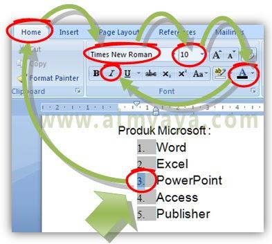 Gambar: Cara membuat  nomor (numbering) berbeda dengan teks  di microsoft word