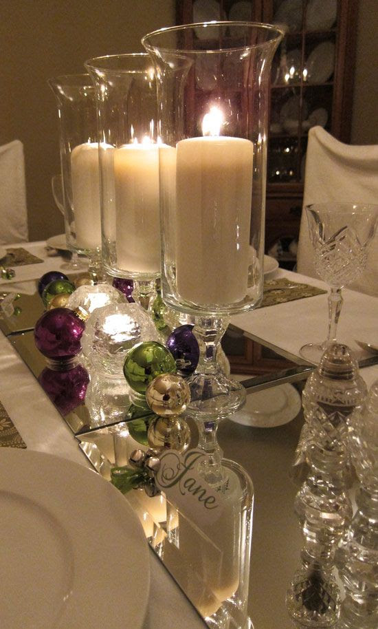 Simple but elegant - I never thought of putting mirrors on my Christmas table! I might just have to do this. :)
