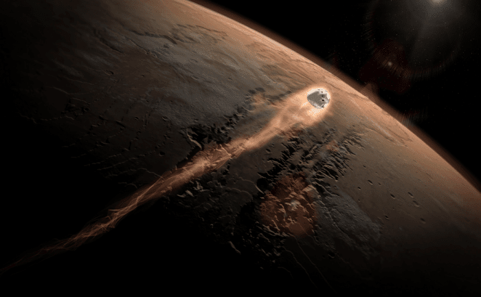 An artist's illustration of SpaceX's Dragon capsule entering the Martian atmosphere. Image: SpaceX