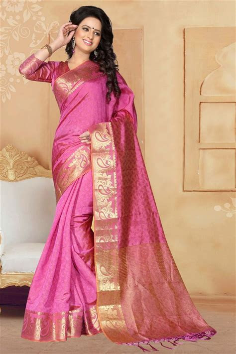 Buy Pink South Indian Style Art Silk Saree 1365 Online