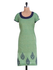 Embroidered Sap Green Cotton Kurta