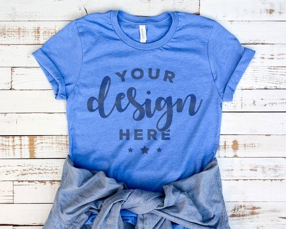 Download Bella Canvas 3001 T-Shirt Mockup Heather Blue Colum With ...