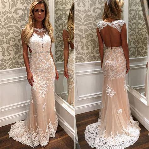 Cap Sleeve Prom Dress with Beaded Belt, White Open Back