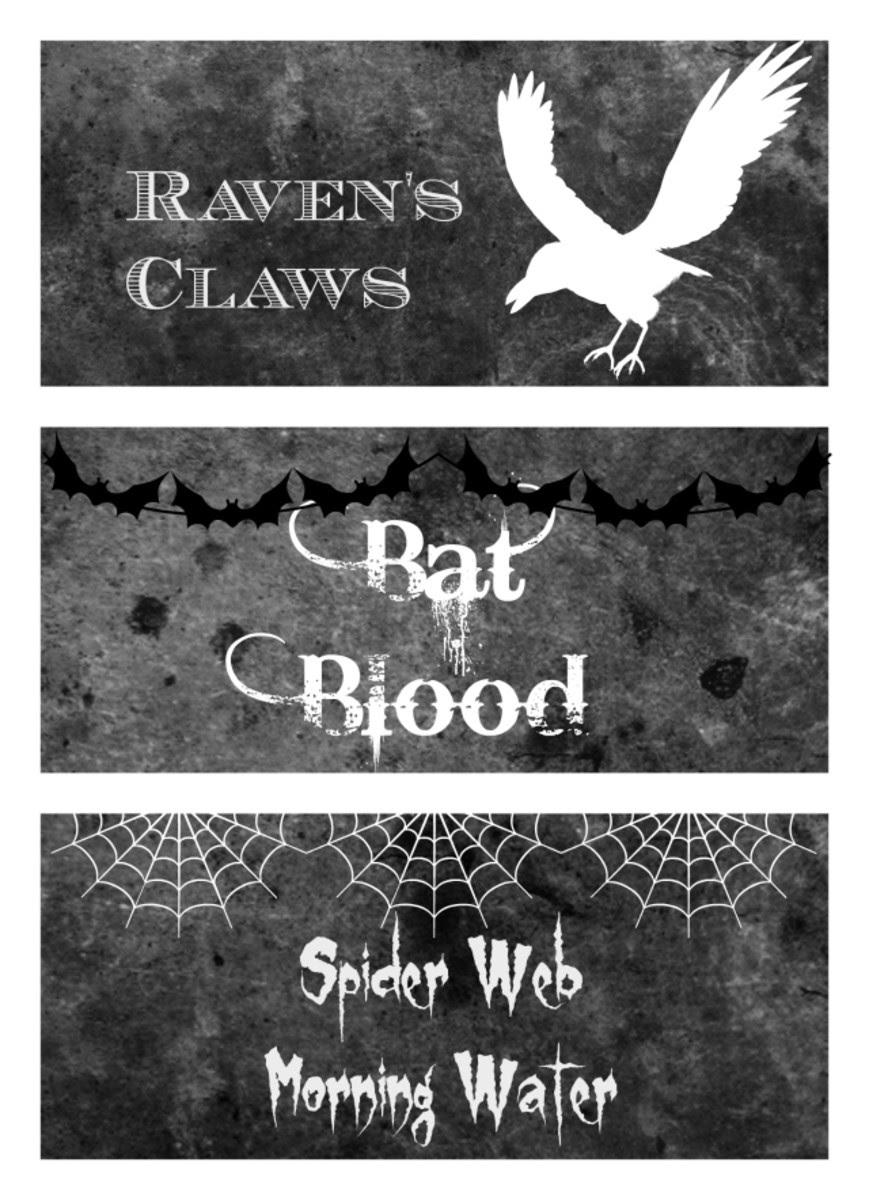 Free Printable Black & White Halloween Bottle Labels