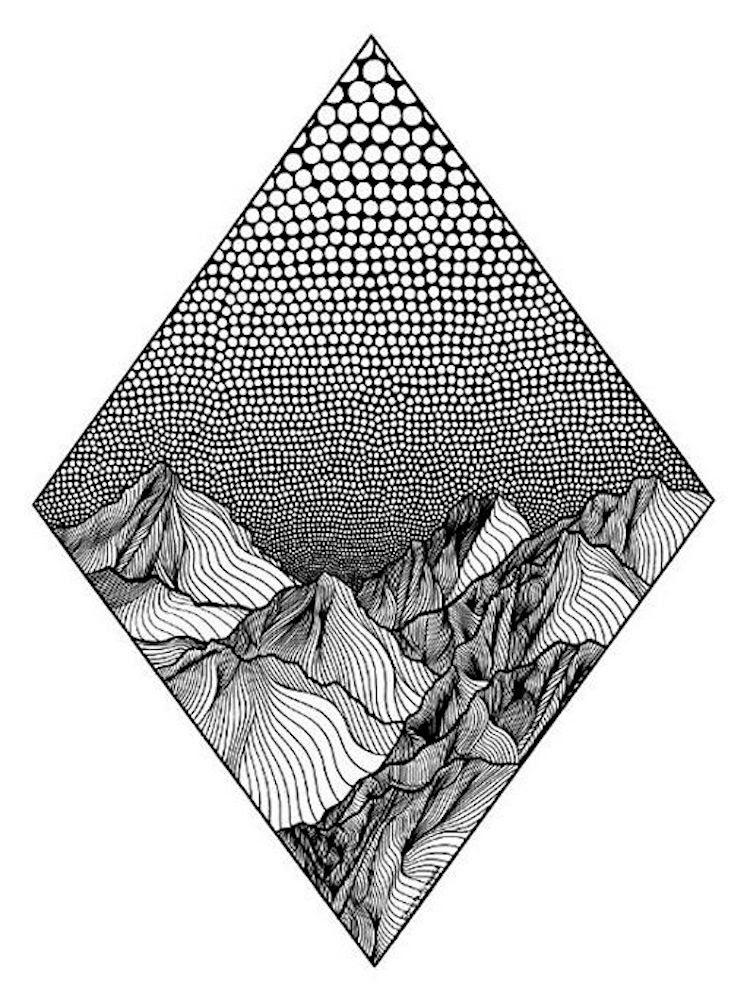 Ligne pointilliste dessins des montagnes par Christa Rijneveld
