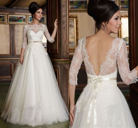 Bridal Gown Tailored A Line 3/4 Sleeves Lace Top Soft