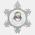 Adorable Christmas Penguin Snowflake Pewter Christmas Ornament