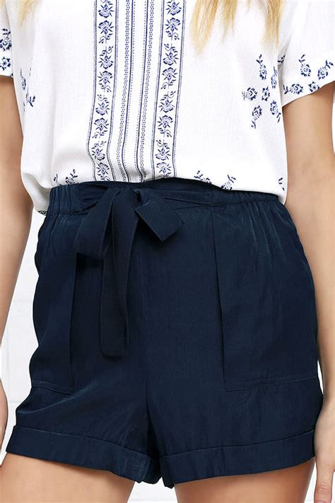 cute navy blue shorts high waisted shorts tie front