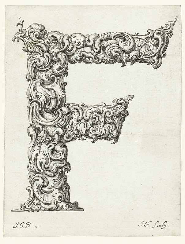 stylised Letter 'F' formed out of fantasy plants 1656)