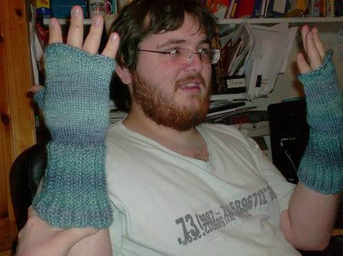 Blue turquoise fingerless gloves