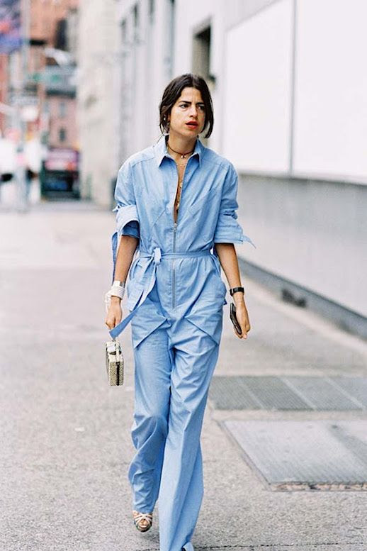 Le Fashion Blog 8 Jumpsuits To Covet Now Leandra Medine Blue Jumpsuit Via Vanessa Jackman