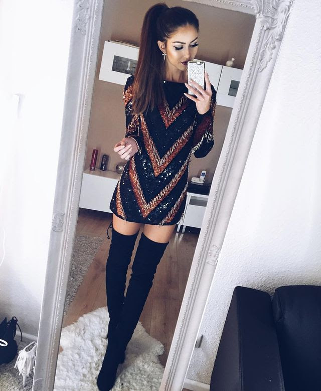 Bodycon dress knee high boots outfit ideas size
