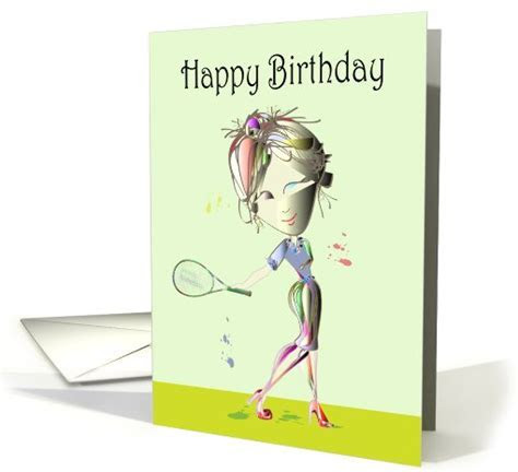 Happy Birthday Fun Card, Modern woman playing Tennis in