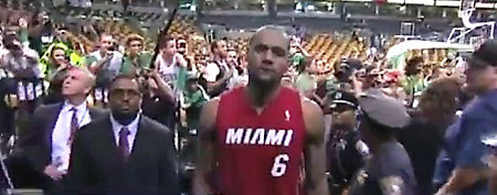 LeBron James exits the Boston Garden floor after Game 6 of the Eastern Conference Finals. (Screen grab courtesy of Yahoo! Sports Blogs)