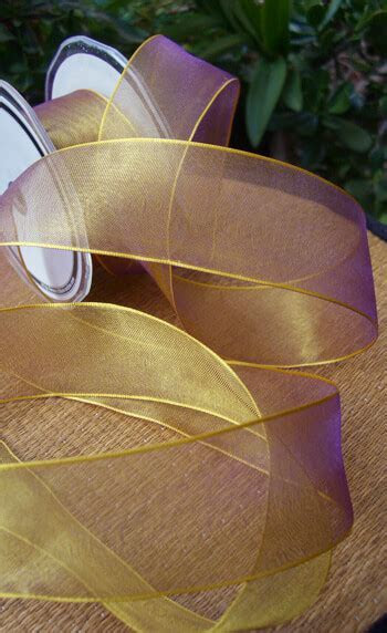Gold & Purple Sheer Organdy Wired Ribbon 1.5in x 9yds