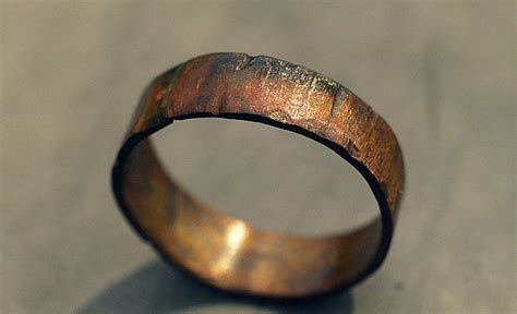 Custom Copper Ring Band   Rugged Wood Texture Ring, Men's
