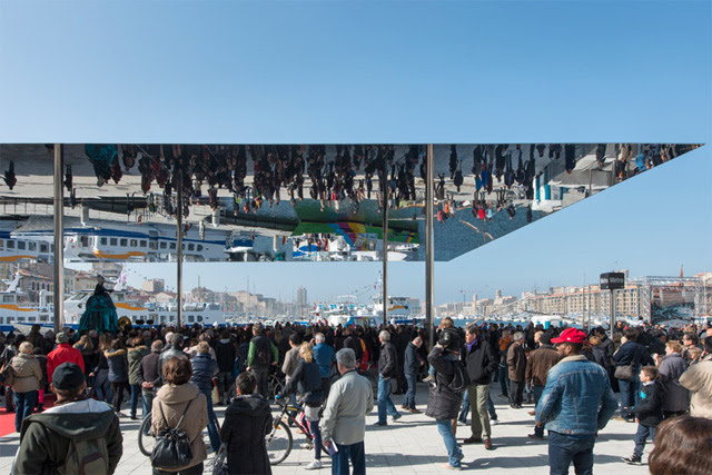 The Port Vieux Pavilion: A Mirrored Canopy Constructed on a French Wharf mirrors France architecture
