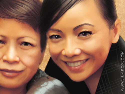 Retrato realista da Sheren Tang com sua mãe, by ila fox