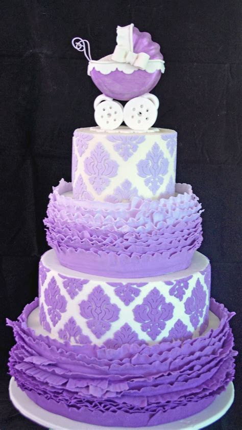 Ombre Ruffle & Damask Babyshower Cake   CakeCentral.com