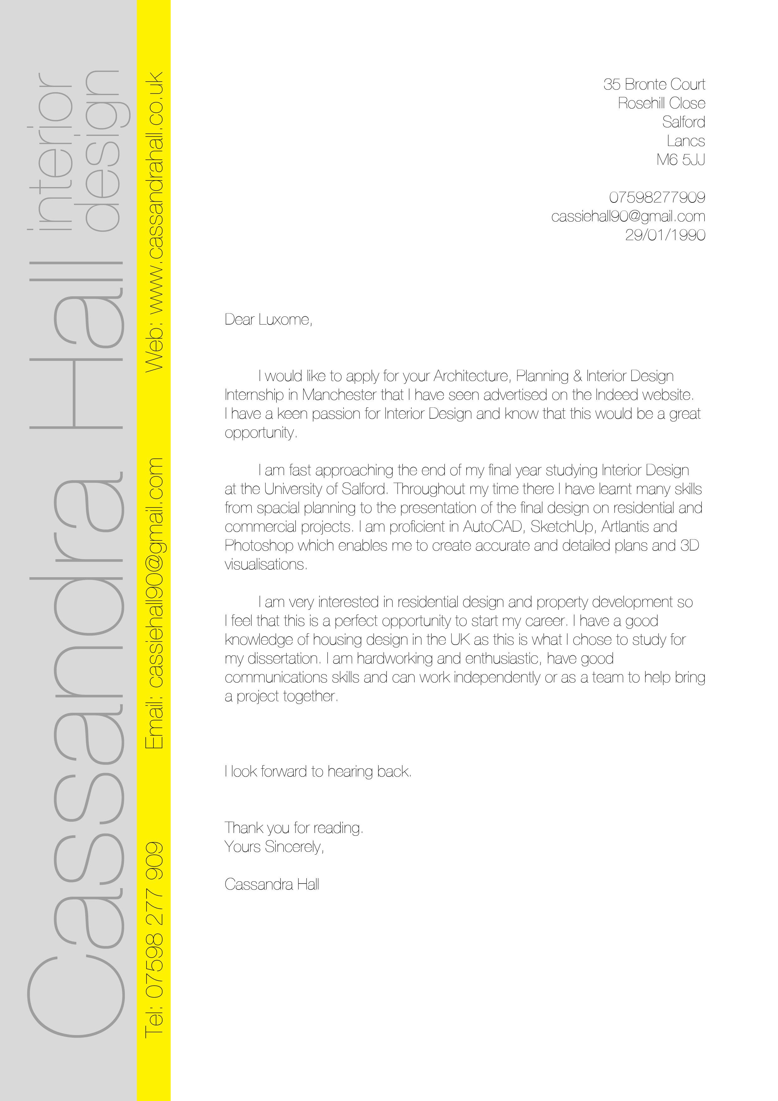 Interior Design Internship Cover Letter Examples - 200 ...