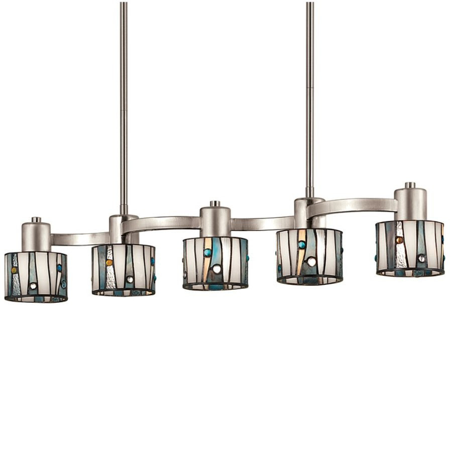 Shop Portfolio 32in W 5Light Brushed Nickel Kitchen Island Light with TiffanyStyle Shade at