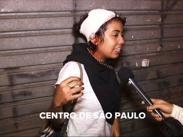 Jovem ferida na cabeça em manifestação no Centro de SP (Foto: Reprodução: TV Globo)