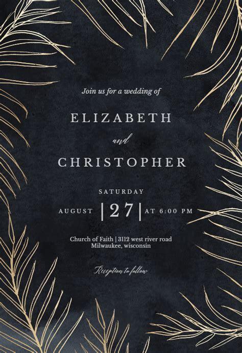 Tropical gold palms   Wedding Invitation Template (free