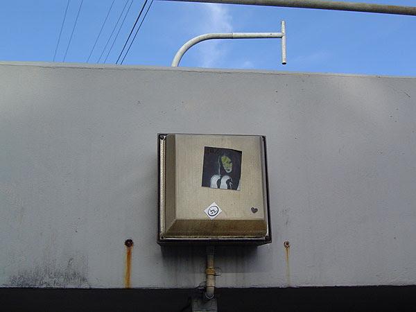 sticker street art in milton