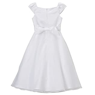 Girls' Special Occasion Short-Sleeve Peasant Dress - White