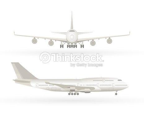 大きい商業ジェット機の飛行機フロント ビューからのプロファイルの