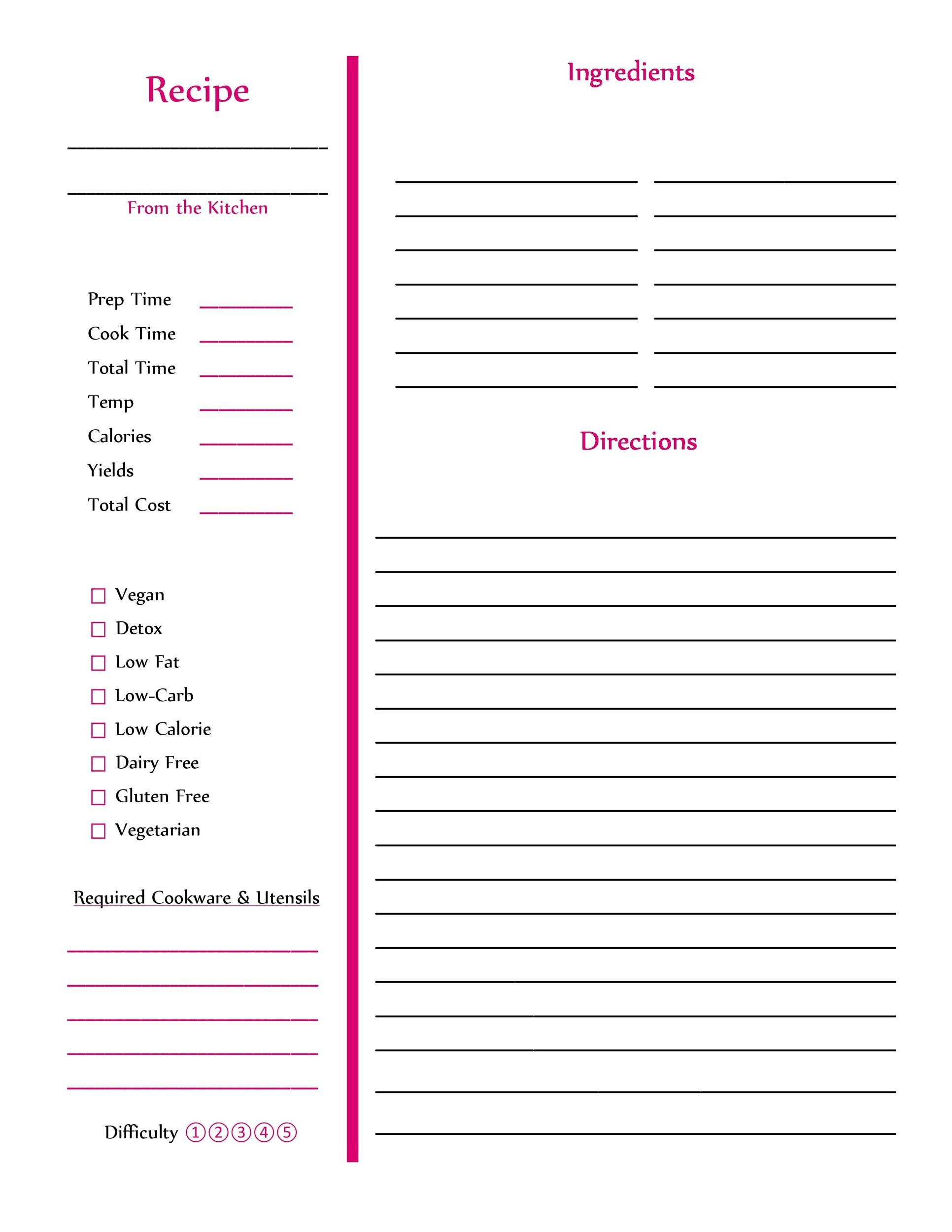 Free Editable Recipe Page Templates For Microsoft Word For Full Page Recipe Template For Word