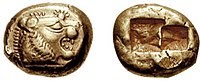 A 640 BC one-third stater coin from Lydia.