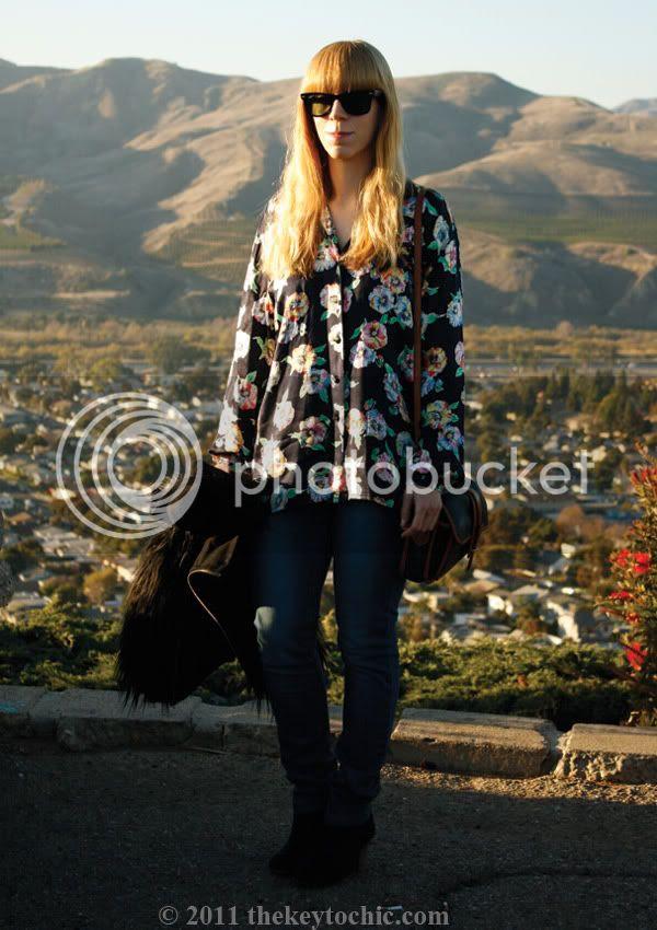 Zara faux fur jacket, gorilla sleeves, vintage Escada blouse, southern California fashion blog, Los Angeles fashion blogger
