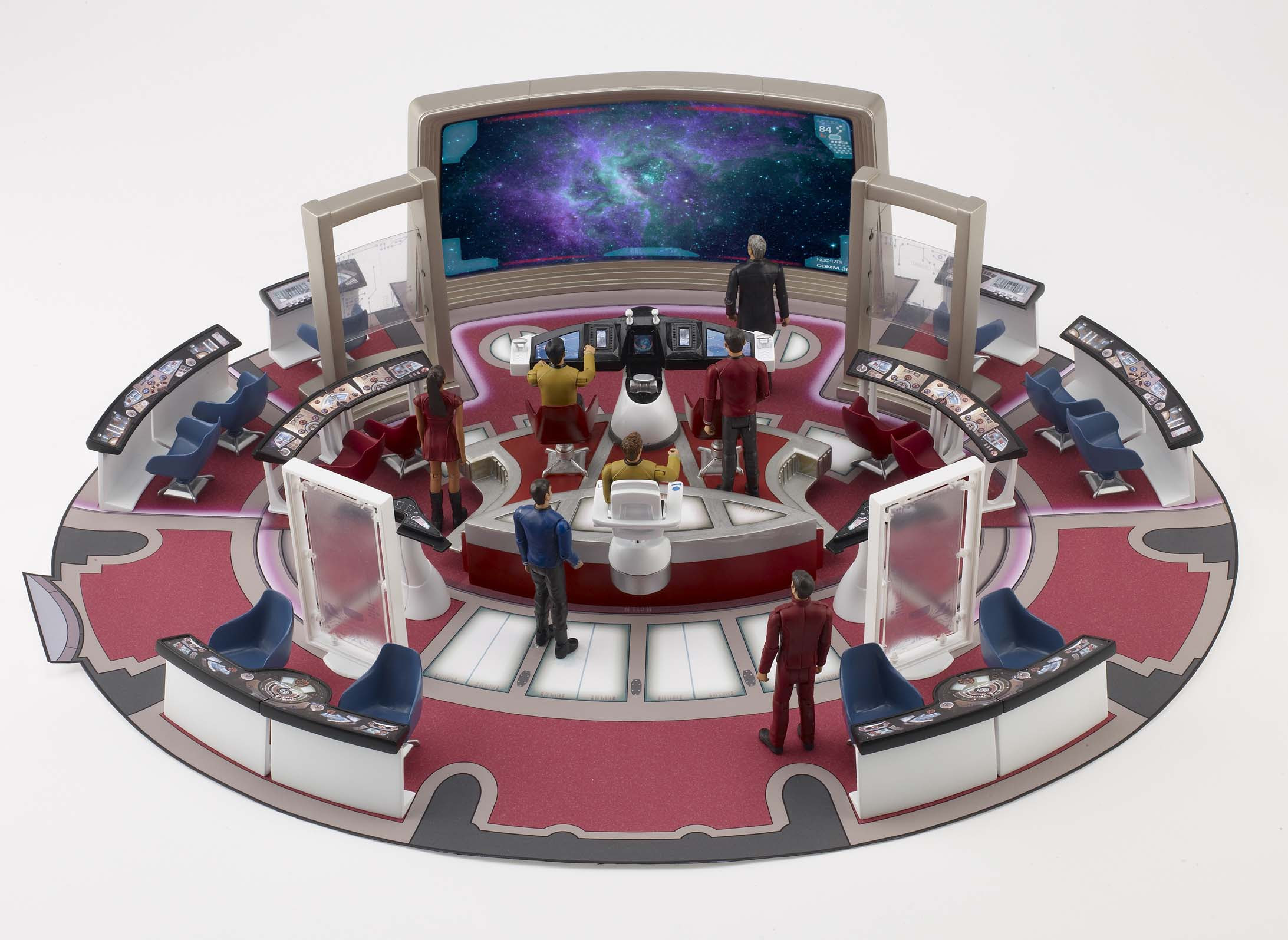 Interactive playset simulates 'Transport feature' from Star Trek movie.