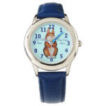 cute brown Bunny with pretty flowers illustration Wristwatch
