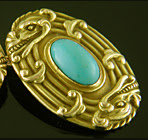 Late Victorian dragon and turquoise cufflinks. (J9347)