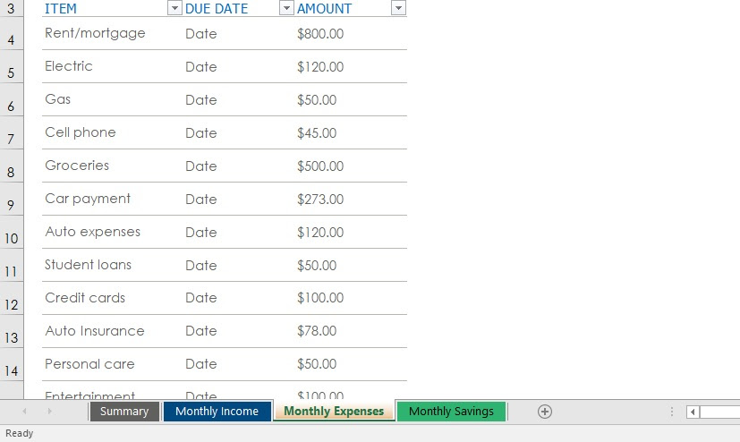Excel Budget Template Tabs