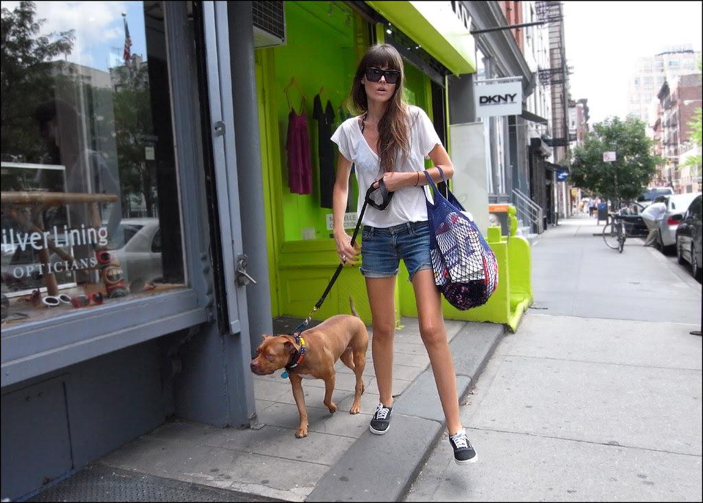 1x 9w cutoffs white vee neck tee boot shoes big sunglasses walking dog ol
